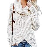 XuBa Suéter Jersey Blusa Sudadera Suelto De Diseño De Envoltura Cruzada Manga Larga De Moda De Mujeres De Estilo De Moda Invierno Otoño Primavera Blanco M