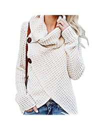 CYNDIE Women Sweater Pullover Casual Long Sleeve Cross-Wrap Design Fashionable