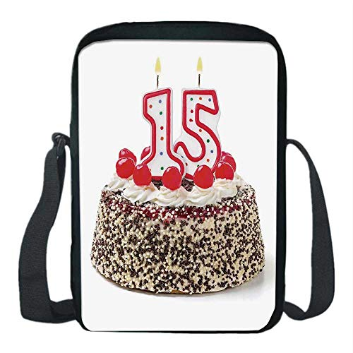 15th Birthday Decorations Print Kids Crossbody Messenger Bag,Chocolate Cherry Cake with Number Candles Surpise Party Theme for Boys,9''H x 6''L x 2''W (Chocolate Designer Prints)
