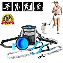 Hands Free Dog Leash Training Treat Pouch, Leash Reflective Shock Bungee Endure Up to 180 lbs, Adjustable Design Fits Waist Sizes, Comfort Safe Dual Handle, Waist Belt Bonus Collapsible Bowl, Waste Bags for Running Walking Hiking