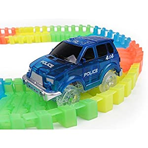 Electric Magic Tracks Cars(3-Pack) LED Flashing Toy Car Looping Race Run Set Flexible Glow in the Dark with 5 LED Lights Magic Track Toy For Boys and Girls