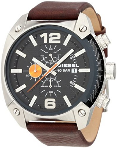 Diesel Men's Overflow Quartz Stainless Steel and Leather Chronograph Watch, Color: Silver-Tone, Brown (Model: (Diesel Silver Black Band Watch)