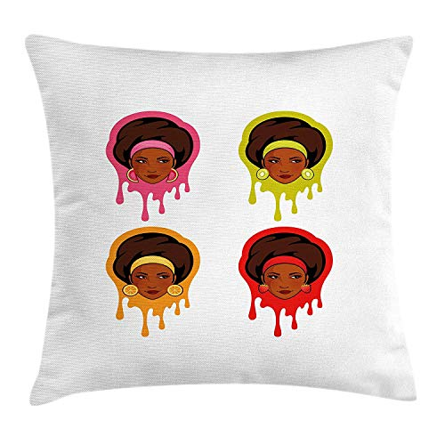 Afro Throw Pillow Cushion Cover, Watermelon Kiwi Strawberry and Orange Earrings Colorful with African American Girls, Decorative Square Accent Pillow Case, 18 X 18 inches, Multicolor