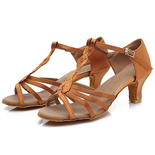 HROYL Women's Standard Latin/Modern/Samba/Chacha Dance Shoes Satin Ballroom S7-230 5CM Brown KJUkN