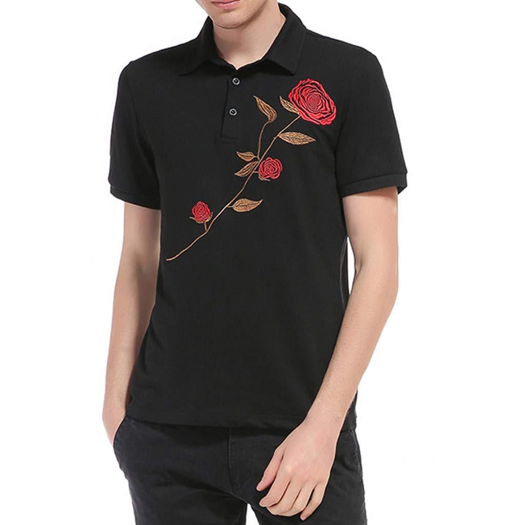 MaiLang Fashion Mens Casual Slim Fit Short Turn-Down Collar Sleeve Flower Print Shirt Top Blouse