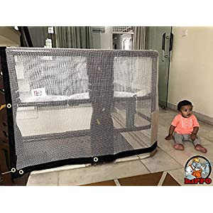 HIPPO Indoor Balcony Safety Net w Eyelets – White Color(Transparent) – 1 Piece (0.80 M X 4 M)