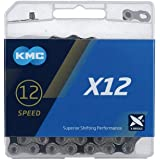 KMC Unisex – Adult Bicycle Chain X12 12 Black 12 Compartments, Silver, 126 Links 1/2x11/128, SB-Packaging