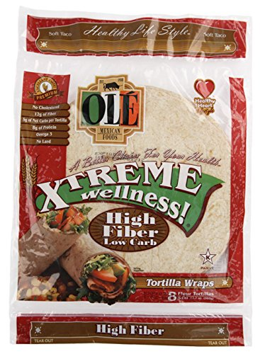 Ole Xtreme Wellness High Fiber Low Carb Wraps, 8ct Packs - 6 Pack Case (Fat Xtreme Carb)