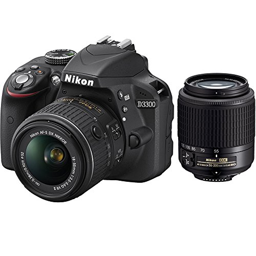 Nikon D3300 24.2 MP CMOS Digital SLR with AF-S DX NIKKOR 18-55mm f3.5-5.6G VR II Zoom Lens (Black) And Nikon 55-200mm f4-5.6G ED AF-S DX Nikkor Zoom Lens Certified Refurbished