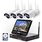 All in one with Monitor Wireless Security Camera System Home WiFi CCTV 4CH 1080P NVR Kit 4pcs 960P...