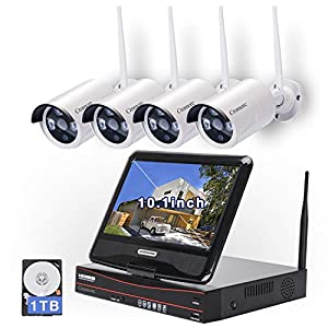 All in one with Monitor Wireless Security Camera System Home WiFi CCTV 4CH 1080P NVR Kit 4pcs 960P Indoor Outdoor Bullet IP Camera P2P IR Night Vision Weatherproof Plug and Play with 1TB Hard Drive