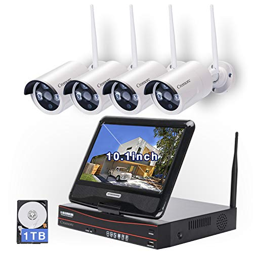 All in one with 10.1 inches Monitor Wireless Security Camera System, Home Business CCTV Surveillance 4CH 1080P NVR Kit, 4pcs 1.3MP 960P Indoor Outdoor Night Vision Bullet IP Camera, 1TB Hard Drive