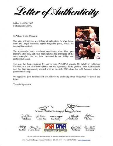 Arturo Gatti & Angel Manfredy Autographed Signed Magazine Page Photo S00443 PSA/DNA Certified Autographed Boxing Magazines