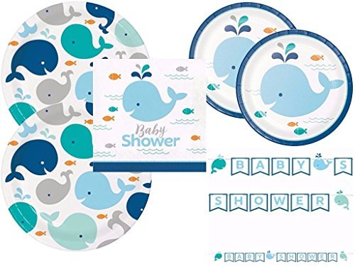 Lil' Spout Blue Whale Baby Shower Plates, Napkins and Banner for 16 Guests ()