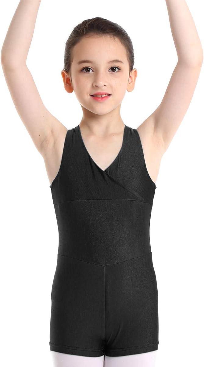 MSemis Kids Girls Gymnastics Tank Top Leotard Ballet Dance Costume Cutout Back Jumpsuit Unitard Dancewear