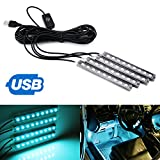 """iJDMTOY 4pc 5"""" 36-SMD LED Ambient Styling Lighting Kit For Car Interior Decoration, Powered From Car USB Socket, Ice Blue"""