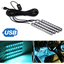 """iJDMTOY 4pc 5"""" 36-SMD LED Ambient Styling Lighting Kit For Car Interior Decoration, Powered From Car 5V USB Socket, Ice Blue"""