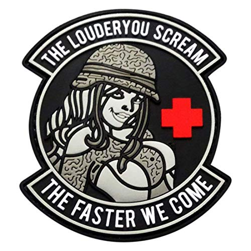 (Louder You Scream Faster We Come Military Pinup Girl Morale Patch(3D-PVC)
