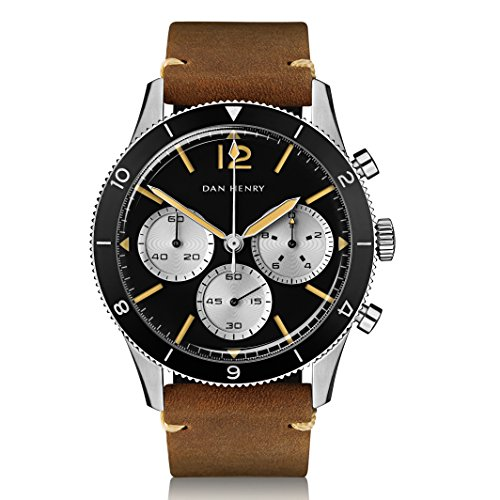 Dan Henry 1963 Pilot Chronograph, Sandwich Dial with Black GMT Bezel, Limited Edition, 42.5mm Stainless Steel Case, Brown Italian Leather Strap + Black Nato Strap Limited Edition Black Dial