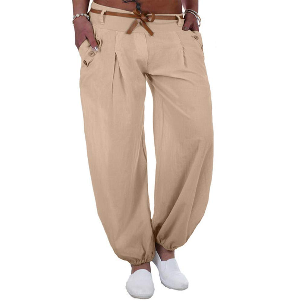wodceeke Slim Pants, Women Long Pants Casual Style High Waist Casual Style Sports Trouser Pants with Pocket (XXXXL, Beige)