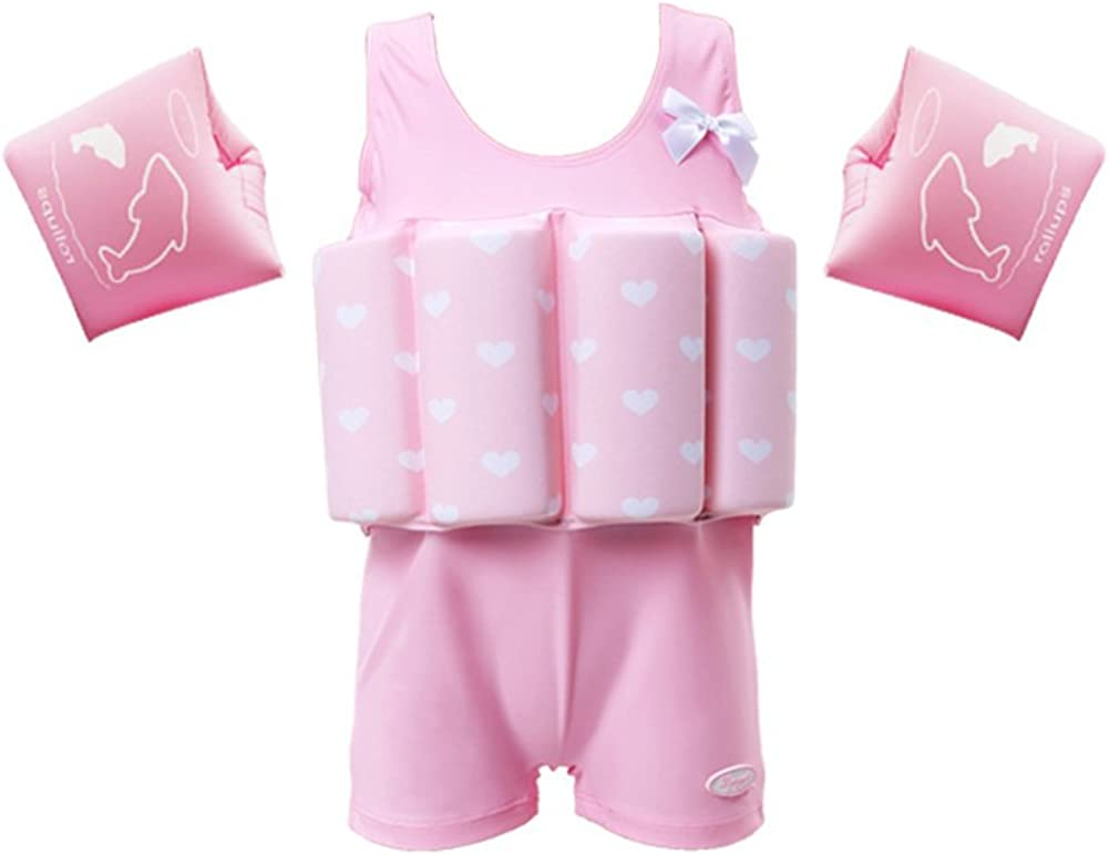 Lemandii Swimwear Floatation Swimsuits with Adjustable Buoyancy for 1-10 Years Baby Girls