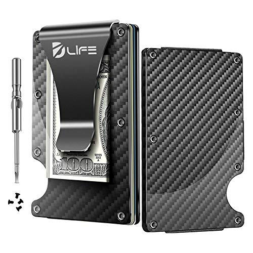 (Dlife Carbon Fiber Men Mini Wallet Money Clip Screw Fixation Elastic Band Credit Card Holder RFID Blocking Wallet + 1 Screwdriver & 4 Extra Screws)