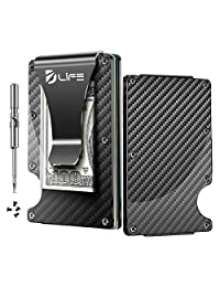 Dlife Carbon Fiber Men Mini Wallet Money Clip Screw Fixation Elastic Band + 1 Screwdriver & 4 Extra Screws