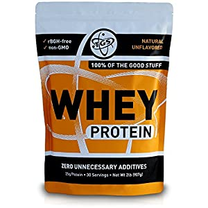 TGS All Natural 100% Whey Protein Powder – Unflavored, Undenatured, Unsweetened – Low Carb, Soy Free, Gluten Free, GMO Free