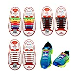 3 Pairs Lazy No Tie Silicone Shoelace For Kids, Oumers Rubber Elastic Slip Sneaker Shoe Laces Running Shoelaces Athletic Shoe laces 12pc/pair, 1 pair Black + 1 pair White + 1 pair multi color offers