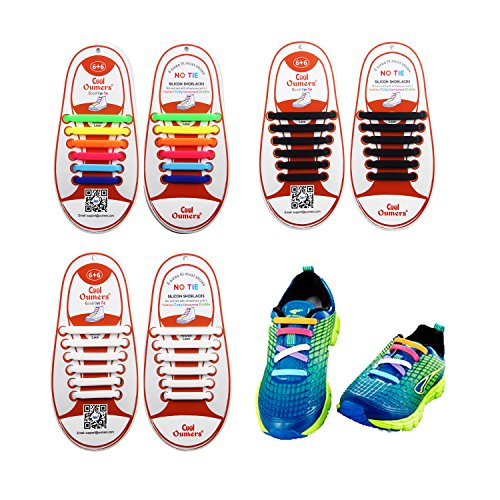 3 Pairs Lazy No Tie Silicone Shoelace For Kids, Oumers Rubber Elastic Slip Sneaker Shoe Laces Running Shoelaces Athletic Shoe laces 12pc/pair, 1 pair Black + 1 pair White + 1 pair multi color