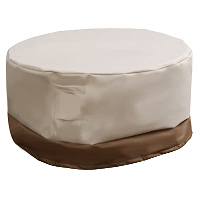 "AK Energy 60"" Waterproof Outdoor Round Table Cover Patio Furniture Protection Beige & Brown w/Click-Cloth Straps : Garden & Outdoor"