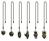 Hyamass 6pcs Vintage Different Owl Hollow Out Charm Pendant Ceiling Fan Danglers Fan Pulls Chain Extender with Ball Chain Connector
