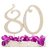 Ella Celebration 80 Gold Cake Topper for 80th Birthday Party Crystal Rhinestone Number Decoration (Gold)