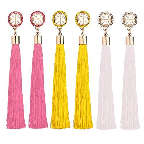 Tassel Dangle Earrings Drop Threader Hoop Chandelier Ear Cuff Fringe Linear Stud Earrings Women Girls Fashion Boho Piercing Wedding Bridal Tribal Dangling Charms Jewelry Pink White Yellow