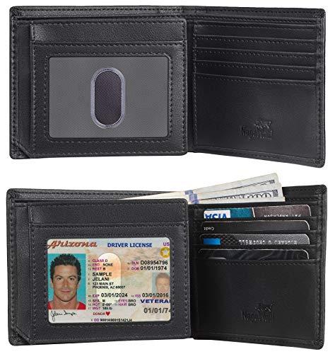 NapaWalli RFID Blocking Trifold Bifold Mens Wallet 18 Slots Extra Capacity (napa black)