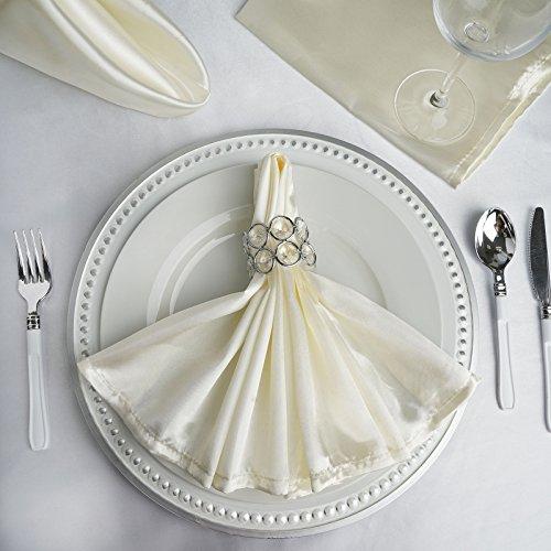 BalsaCircle 10 pcs 20 inch Satin Napkins - Table Linens - Ivory