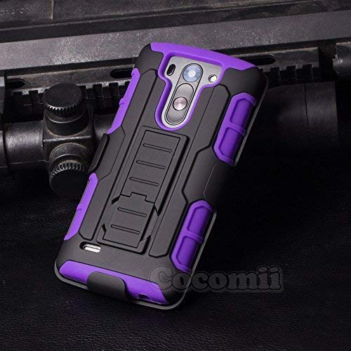 Cocomii Robot Armor LG G3 Vigor/G3 Beat/G3 S Case New [Heavy Duty] Premium Belt Clip Holster Kickstand Shockproof Bumper [Military Defender] Full Body Rugged Cover for LG G3 Vigor (R.Purple) (Lg G3 Beat Best Features)