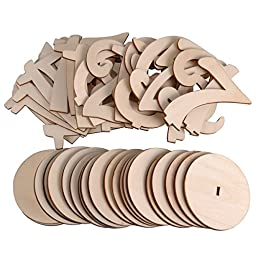 eZAKKA 1 To 20 Wooden Table Numbers With Holder Base For Wedding Party Home Decoration,9.7cm