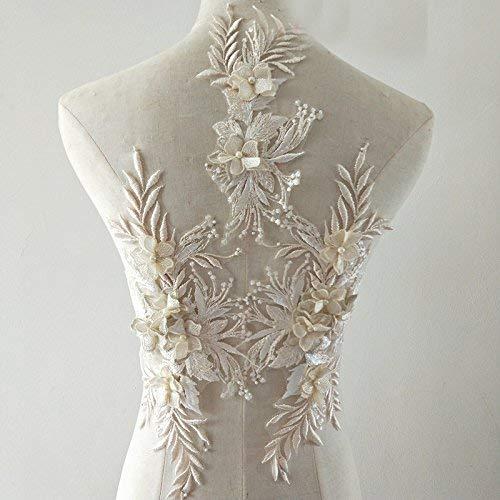 Apliques de encaje 3d Motivos de parches Lentejuelas Diamante Beads Trim Ideal para bricolaje Costura artesanal Sastrería Boda nupcial 3 en 1
