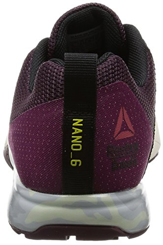 Reebok Crossfit Nano 6.0, Zapatillas Deportivas para Interior para Mujer mystc maroon-rbl berry-blk-hero ylw-chlk-pwtr