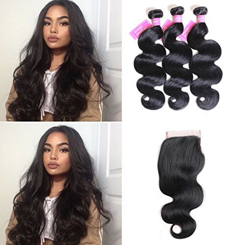 Original Queen 8A Grade Brazilian Body Wave Virgin Hair 3 Bundles with Closure 100% Unprocessed Human Hair Extensions Mixed Length 16 18 20inches With 14inches Free Part Closure