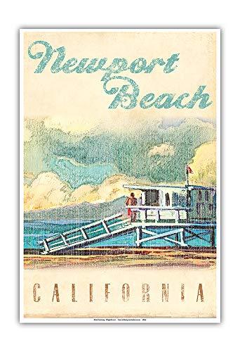 (Pacifica Island Art - Newport Beach, California - Lifeguard Tower - Vintage Travel Poster by Wade Koniakowsky - Master Art Print - 13in x)