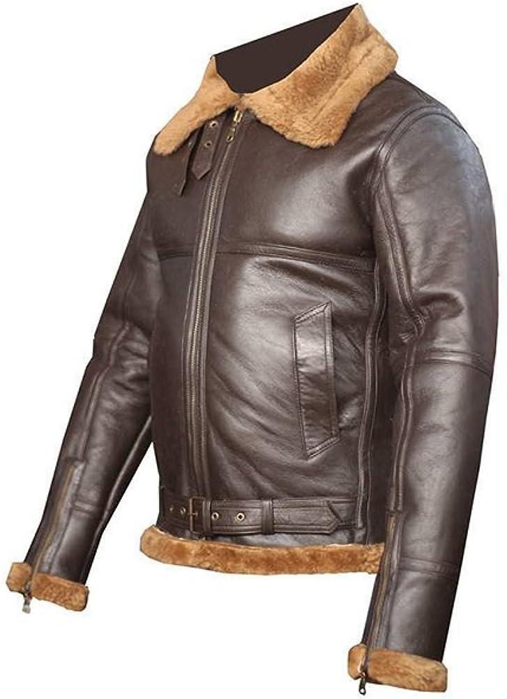 Men/'s Aviator RAF B3 Ginger Sheepskin Fur Leather Bomber Flying Jacket