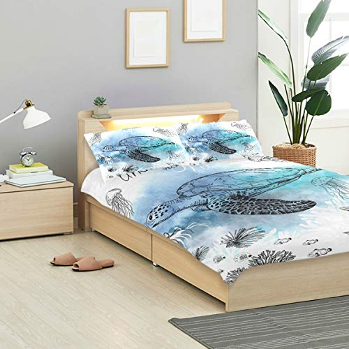 - CANCAKA Pen Duvet Cover Set Pen Style Sketch Underwater Design Bedding Decoration Twin XL Size 3 PC Sets 1 Duvets Covers with 2 Pillowcase Microfiber Bedding Set Bedroom Decor Accessories