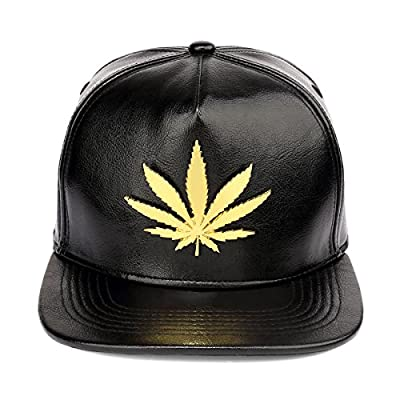 MCSAYS Glossy PU Leather Snapback Hat Flat Brim Marijuana Leaf Baseball Cap by MCSAYS