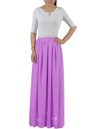 183e79fa09 BeryLove Women s Pleated Summer Long Chiffon Skirt Beach Maxi Skirt Lilac  Size XS