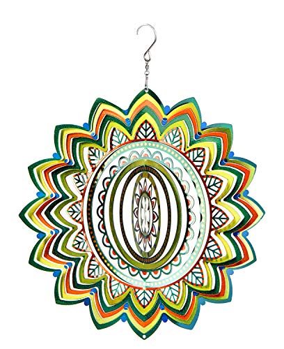 (3D Sculptures Hanging Wind Spinner Garden Patio Outdoor Indoor Lawn Decoration Crafts Ornaments Gift with Swivel Hooks Laser Cut Hand Painted Mandala Lucky Star Green 12 Inch)