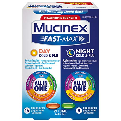 - Mucinex Fast-Max Max Strength, Day Severe Cold & Night Cold & Flu Liquid Gels, 24ct