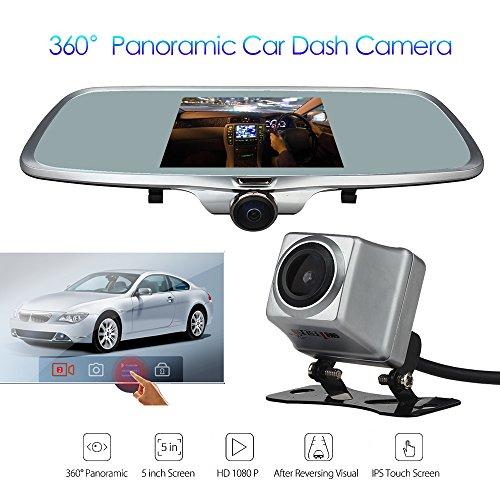 wonvon dual lens rearview mirror dash camera car dvr car camera 360 degree panoramic front lens. Black Bedroom Furniture Sets. Home Design Ideas