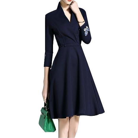 FRLYQ hjhy® Un Pieza Vestido, Tendenza de color sólido una parola era fina falda